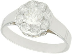 Antique 1920s 1.08ct Diamond And 18ct White Gold Cluster Ring Size O 1/2