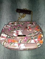 Nine West Women's Floral Print Mini Cross Bag Purse Gold Chain Snap Button NEW $50.00