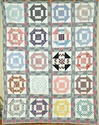 Cheery Vintage Attic Window Crow's Nest Antique Quilt, Signed And Dated 1951