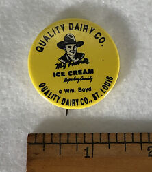 Rare Vintage Hopalong Cassidy Quality Dairy St Louis Button Pin Badge Pinback