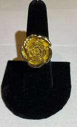 The Rose Ring In 10k Yellow Gold, Made And Cast In Usa