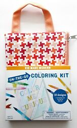 Kid Made Modern On the Go Coloring Kit Children Youth Red and Orange 18 Designs