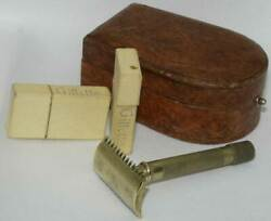 1920's Vintage Gillette Safety Razor With Unusual Horseshoe Case And Blade Safes