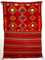 Exceptional Historic Navajo Eyedazzler Double Pattern Saddle Blanket, Excellent
