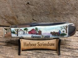 CASE KNIFE w SCRIMSHAW by HARBOUR of LIMITED Ed. CHRISTMAS CHRISTMAS TREE HOME