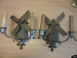 Antique 16 Pair Cast Metal Windmill Electric Wall Sconces Double Candle Backlit