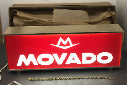 """Movado Watches Advertising Store Display Lighted Sign Rare 17.5"""" X 6.5"""" Rare Vtg"""