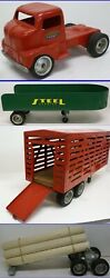 Vintage 1950and039s Large Tonka Carrier Semi Truck And Trailers Fleet Set All 4 Pieces