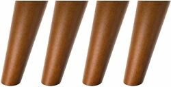 4 Pack 6 Furniture Replacement Wooden Legs Mid-century Style W/ Hardware Walnut