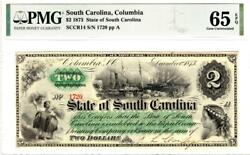 2 1873 State Of South Carolina Columbia Pmg 65 Epq Gem Uncirculated-very Rare