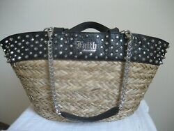 Vintage Faith Connextion Metal Studded 70 Straw And 30 Leather Tote Bag