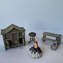 Dollhouse Fairygarden Outdoor Toy Props Coop Grill Table Fire Pit Guitar Used