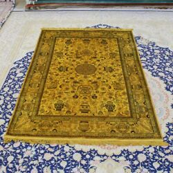 Yilong 4and039x6and039 Vintage Handmade Carpet Medallion Porch Hand Knotted Silk Rugs 080b