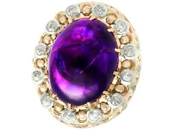 21.43 Ct Amethyst And 1.07 Ct Diamond 14k Yellow Gold Dress Ring - Vintage 1960s