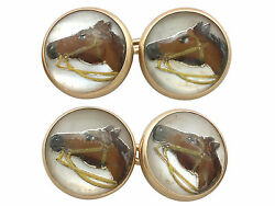 Antique Victorian Essex Crystal And 14k Yellow Gold Horse Cufflinks