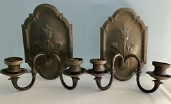 Antique Pair Electric Sterling Bronze Co Ny, Wall Sconces Thistle Maker's Label