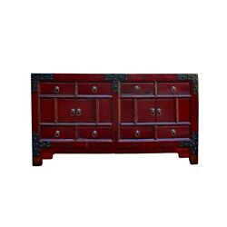 Chinese Distressed Red Iron Hardware Sideboard Table Cabinet Cs5924