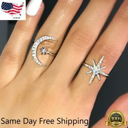 Fashion Star Moon Shaped 925 Silver Wedding Rings White Sapphire Ring US Seller $3.85