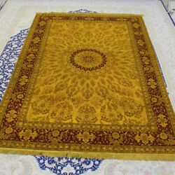 Yilong 6and039x9and039 Large Handmade Silk Carpet Golden Villa Hand Woven Area Rugs 094b