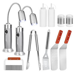 Bbq Grill Tool Set Stainless Steel Barbecue Utensils Kit Tongs Camping Light New