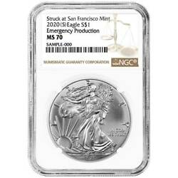 2020 S 1 American Silver Eagle Ngc Ms70 Emergency Production Brown Label