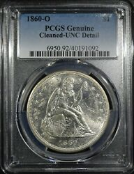 1860-o Liberty Seated Dollar Pcgs Unc Cleaned Free Sh After 1st Item