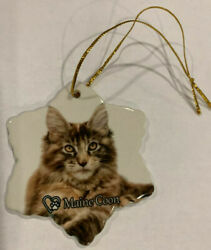 Maine Coon Cat Porcelain Star Shaped Christmas Ornament New