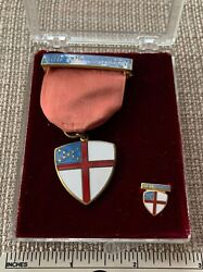 Vtg 1960s Episcopal Boy Scout God And Country Award Medal And Pin Set Church Badge