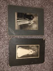 2 Antique Photographs Matted Women In Dresses Wedding Victorian Professional
