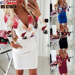 Women#x27;s Sexy Floral Bodycon Mini Dress Ladies Long Sleeve Evening Party Dresses $16.89