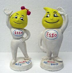 Pair Mr And Mrs Drip Esso Oil Cast Iron Promo Figures M Busch Gmbh Germany Bank
