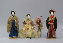 Japanese Tradition Antique Doll The Meiji Period Costume Dolls 3-piece Set 衣裳人形
