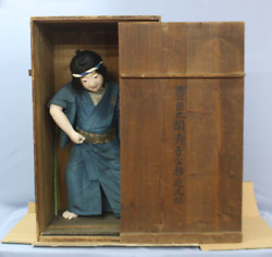 Japanese Tradition Antique Samurai Warrior Doll 豊臣秀吉infancy With Wooden Box Y