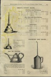 1897 Paper Ad Chaceand039s Patent Oil Can Oiler Zinc Filler Railroad Drip Self Glass