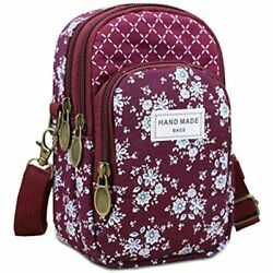 WITERY Multi Pockets Cell Phone Purse Wallet Flower Pattern Canvas Crossbody For $21.95