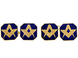 9carat Yellow Gold And Enamel Freemasons' 'square And Compass' Cufflinks - Antique