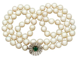 Single Strand Pearl And 0.48 Ct Emerald 18carat White Gold Necklace – Vintage