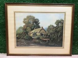 Thatched Country Cottage At Waters Edge By Vincent Selby Print