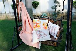 Peach Colour Throw In Pure Cotton For Couch Sofa Bed Garden Chairs Cotton