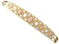 Antique Victorian Coral And Seed Pearl 15k Yellow Gold Bangle Circa 1880