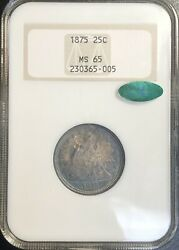 1875 Seated Liberty Quarter Ms 65 Cac Old Fatty Ngc Holder Beautiful Color Pq