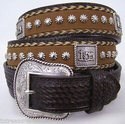Nocona Belts 38 Brown Leather Praying Cowboy Concho Horsehair Nailhead Studs Nwt