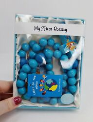 Boy's My First Rosary, Wooden Prayer Beads With Mysteries Booklet, 21 Inch