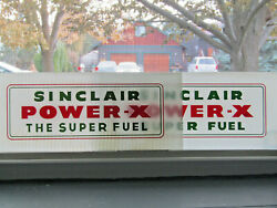 2 Matching 12 5/16 X 5 Glass Sinclair Power-x The Super Fuel Inserts Signs