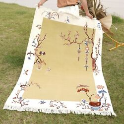 Yilong 4'x6' Hand Craft Wool Carpet Chinese Art Decor Dining Room Area Rug
