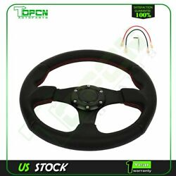 320mm Black Pvc Leather Aluminum For Jdm Euro Black Red Stitching Steering Wheel