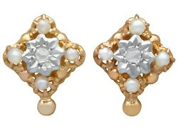 0.06 Ct Diamond And Seed Pearl, 18carat Yellow Gold Stud Earrings - Antique