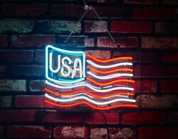 American Flag Neon Sign Lamp Light 14x10 Acrylic Decor With Dimmer