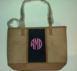 Thirty One Little Dreamer Natural Straw Personalized Bag quot;RDMquot; Monogram $19.95