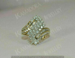 1Ct Round Baguette Cut Cluster Diamond Engagement Ring 14K Yellow Gold Finish $107.89
